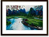 Art of Silk Hand Designed Silk Art - China Guilin Spring - Scenic Nature Silk Embroidery - Framed
