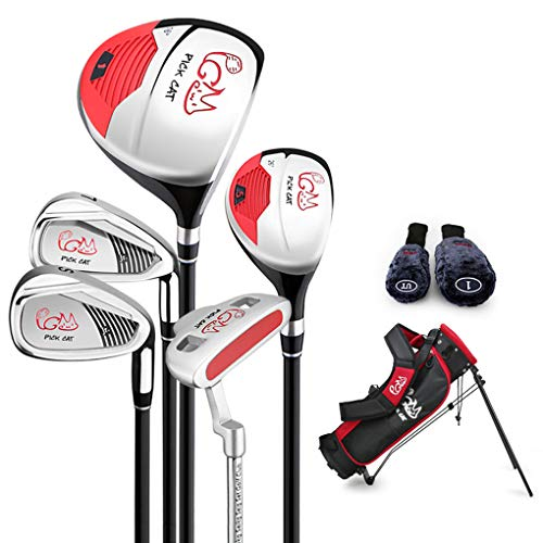 PGM Junior Golf Club Complete Set for Children Kids, 5 Golf Clubs with Stand Bag and 2 Headcovers for Boys & Girls, Right Hand