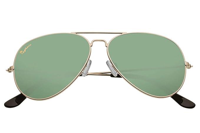 Capraia Nasco Estilosas Piloto Gafas de Sol Alta Calidad Montura Metálica Dorada y Lentes Verdes Polarizadas protección UV400 Hombres Mujeres