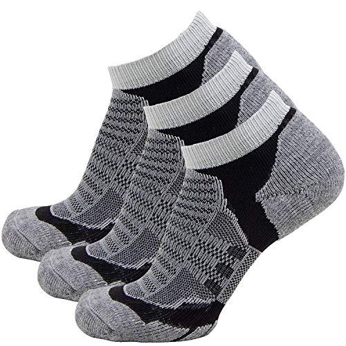 Low Cut Wool Running Socks – Cushioned Merino Wool Athletic Socks for Men and Women, Moisture Wicking (3 Pairs - Grey/Black, Medium)