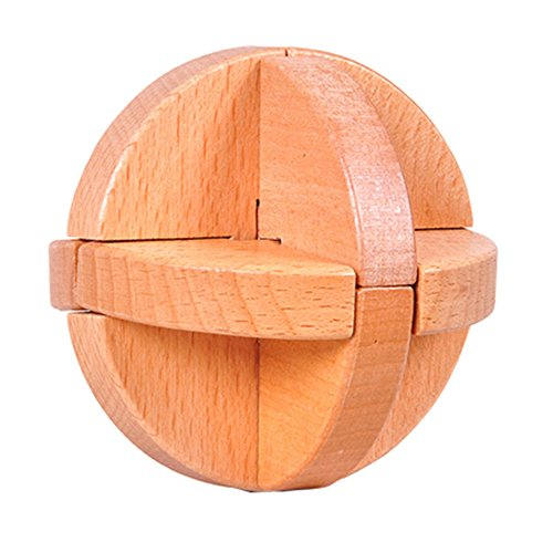Luban Ball 3D Magic Puzzle Luxury Wooden Brain Puzzle-Unique Design-Brain Teaser Kids Adult Intellectual Toy Gift KongMing Lock Wood Block Cube Jigsaw Puzzle