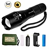 Best 007 LED Tactical Flashlight Super Bright Torch High Lumens CREE LED Handheld Light Rechargeable Waterproof Zoomable 18650 Battery Included or AAA Battery Camping Hiking Emergency(flashlight set)