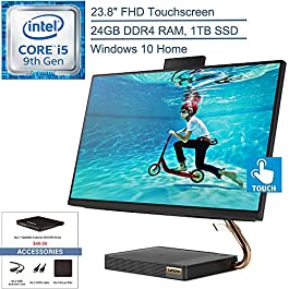 2020 Lenovo IdeaCentre A540 All-in-One Desktop Computer, 23.8″ 24″ FHD Touchscreen, Intel 6-Core i5-9400t Up to 3.4GHz, 24GB DDR4, 1TB SSD, HDMI, Windows 10, YZAKKA External DVD+Accessories