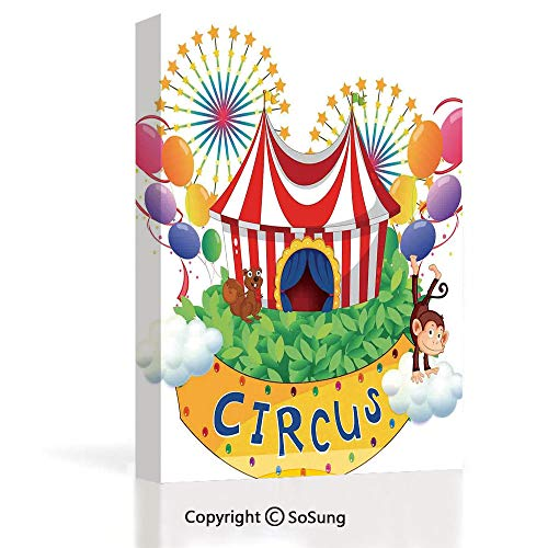 - Home Decoration Painting Wall Mural Carnival with a Circus Signboard Cirque Leaves Plants Fireworks Monkey Living Room Dining Room Studying Aisle Painting,16