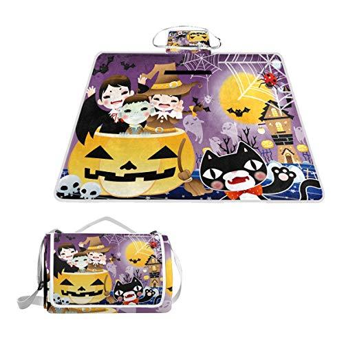 Halloween Background Design Large Picnic Blanket,Picnic Rug Mat 57