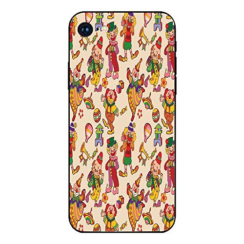 Phone Case Compatible with iphone7 iphone8 Mobile Phone Covers Phone Shell BrandNew Tempered Glass Backplane,Circus Decor,Cartoon Circus Patterns Comedian Musical Toy Pleasure Hot Air Balloon,Anti-sh