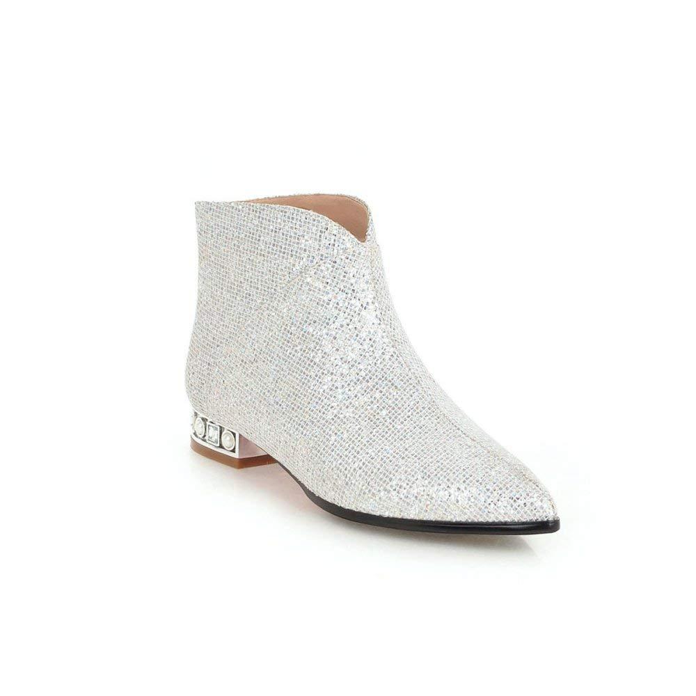 QINGMM Mode Pailletten Frauen Schuhe 2018 Herbst Quadratische Ferse Spitze Stiefel Größe 32-43 Stiefelies