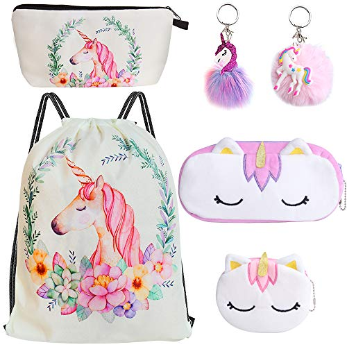 Standie 6PCS Drawstring Backpack for Unicorn Gift for Girls Include Makeup Bag Coin Purse Keychain Set for Party