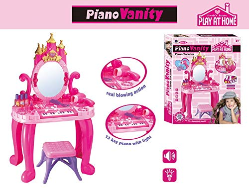 ReallyGO-US Direct Play Pretend Play Kids Vanity Table and Beauty Play Set with Piano and Fashion Makeup Accessories, Keyboard, Storage Drawer, Hair Dryer for Girls, Pink