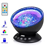 little boy room ideas Remote Control Ocean Wave Projector, Hallomall 12LED Night Light Lamp with Built-in Music Player, 7 Color Changing Lighting Modes, Perfect Choice for Baby Nursery Bedroom Living Room(Black)