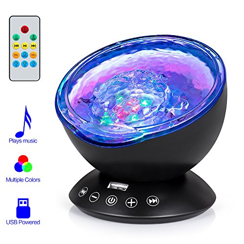 Price comparison product image Remote Control Ocean Wave Projector, Hallomall 12LED Night Light Lamp with Built-in Music Player, 7 Color Changing Lighting Modes, Perfect Choice for Baby Nursery Bedroom Living Room(Black)