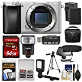 Sony Alpha A6300 4K Wi-Fi Digital Camera Body (Silver) 64GB Card + Case + Flash + LED Video Light + Mic + Battery & Charger + Tripod + Kit