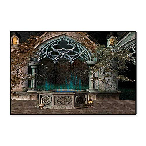 Gothic Door Mat Small Rug Mystical Patio with Enchanted Wishing Well Ivy on Antique Gateway to Magical Forest Bath Mat for Bathroom Mat 16