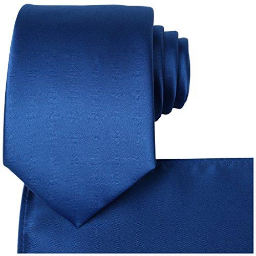 (KissTies Royal Blue Satin Tie Wedding Ties Necktie + Pocket Square)