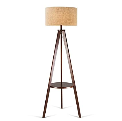Lámparas de pie Lámpara de pie de madera del trípode con los ...