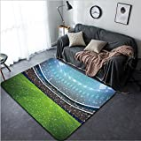 Vanfan Design Home Decorative Soccer stadium in the night with white colour team All graphics are made up d rendering Modern Non-Slip Doormats Carpet for Living Dining Room Bedroom Hallwa