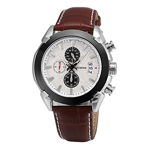 Dress Dial Brown (Ananke Men's Brown Leather Quartz Waterproof Wrist Watch With Chronograph Date Analog Dial Dress Watches)