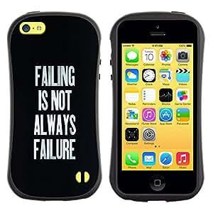 Fuerte Suave TPU GEL Caso Carcasa de Protección Funda para Apple Iphone 5C / Business Style Failing Success Inspirational Text Black