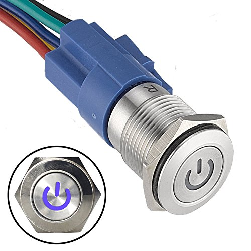 API-ELE [3 Year Warranty 16mm Latching Push Button Switch 12V Power Symbol Socket Plug 1NO1NC SPDT ON/Off (Blue)