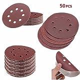 Youfui 50Pcs 8 Holes Abrasive Sand Discs Sanding Paper 40-60-80-120-180 Grit Sandpapers