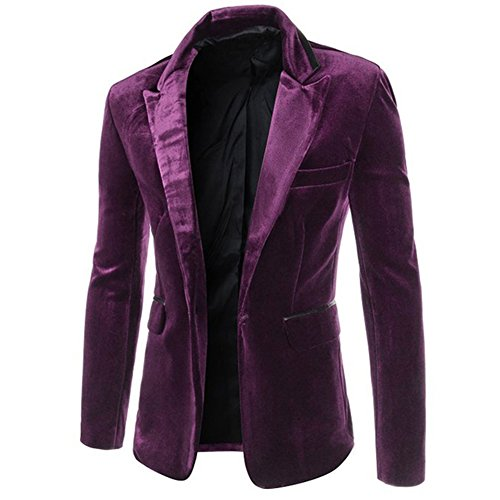 [DressLoves Men's Corduroy Long Sleeve 1 Button Casual Blazers Large Purple] (Willy Wonka Costume)
