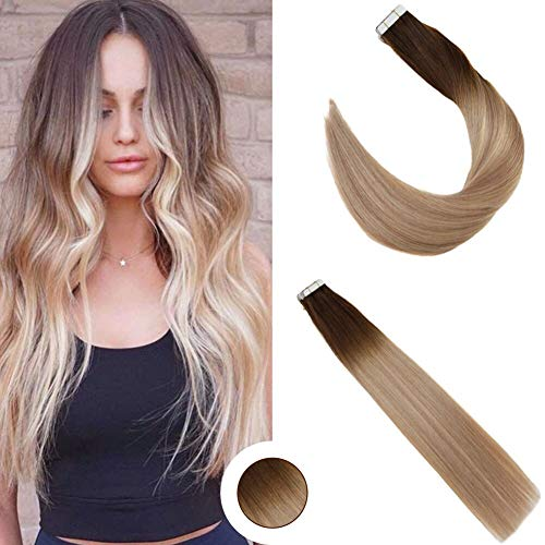 Ugeat 18 Inch Seamless Skin Weft Tape in Hair Extensions Ombre Color Medium Brown 4 Fading to 18 Ash Blonde Highlighted with Color 22 Tape on Human Hair 20pcs/50g Glue on Hair (Blonde On Top And Brown On Bottom Hair)