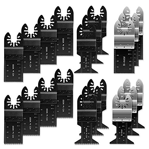 Flymall 20PCS Universal Wood Metal Oscillating Multitool Quick Release Saw Blades Fit Fein Multimaster Porter Cable Black & Decker Bosch Dremel Craftsman Ridgid Ryobi (20)