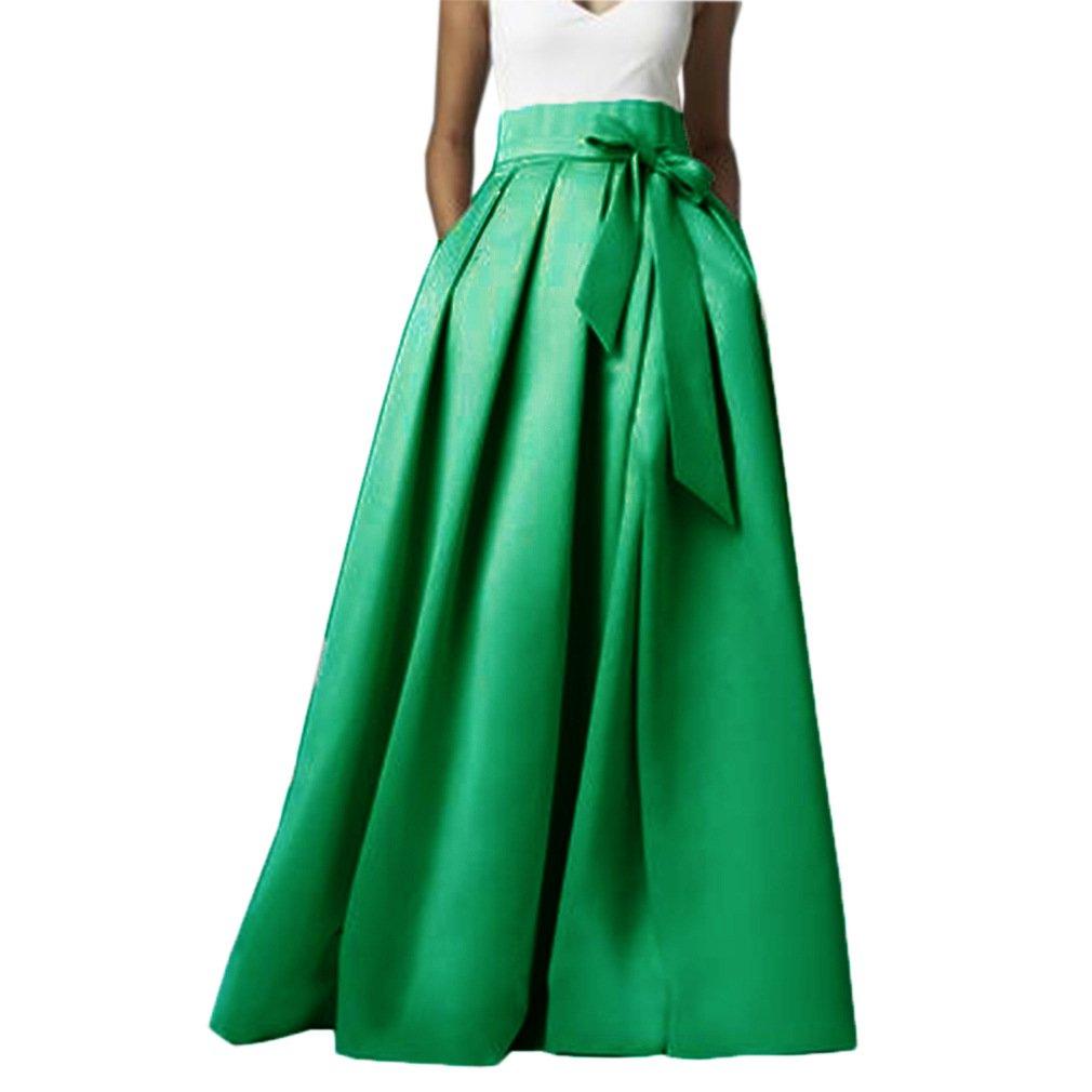 Lisong Women Floor Length High Waisted Taffeta Bowknot Party Skirt