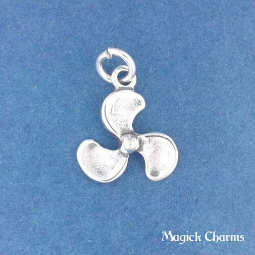 Sterling Silver 3-D Boat Propeller Charm DIY Jewelry Making Supply for Charm Pendant Bracelet by Charm Crazy (Food Bracelet Charms Silver)