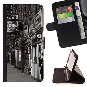 BullDog Case - FOR/Samsung Galaxy S4 Mini i9190 / - / street view shops black white retro photo /- Monedero de cuero de la PU Llevar cubierta de la caja con el ID Credit Card Slots Flip funda de cuer