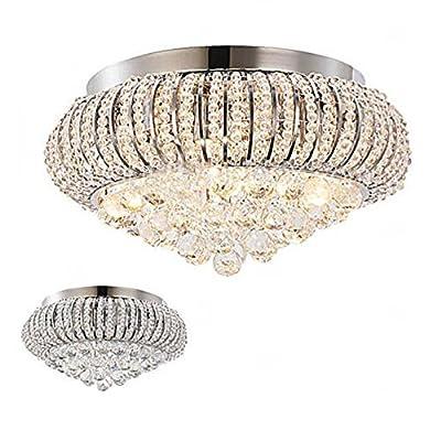 Aero Snail Modern Crystal Flush Mount Living Room 5-Light Ceiling Light Fixture Chrome Finish
