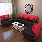 Bharat Lifestyle Butterfly Five Seater Sofa Set 3-1-1 (Red)