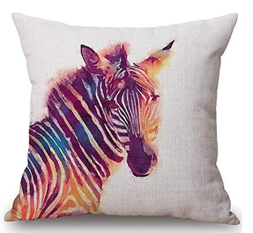 Watercolor animal Horse lion tiger owl giraffe bear Cotton Linen Square Decorative Throw Pillow Case Cushion Cover 18inchs ¡ (6)