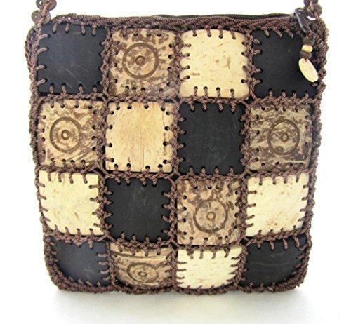Circle Dots Phone (Coconut Shell Handbag Small Crossbody Cell Phone Purse Zippered Brown 8 Inche7 (Circle Dot))