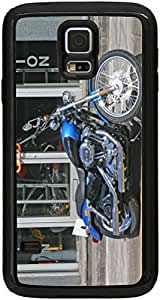 Rikki KnightTM Harley Davidson Blue Design Black Galaxy S5 Tough-It Case Cover for Galaxy S5 (Double Layer case with Silicone Protection and thick front bumper protection) by supermalls