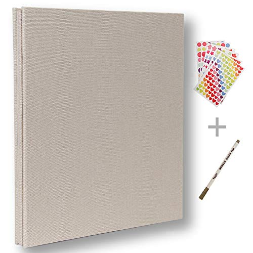 Self Adhesive Photo Album Magnetic Scrapbook Album 40 Pages Hardcover Length 11 x Width 10.6 (inches) with Photo Album Storage Box DIY Accessories Kit (White)