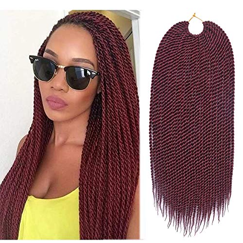 Refined 7Packs18inch 30stands/pack Senegalese Twist Crochet Braids 16 Colors Avaliable for Black Women High Temperature Fiber Synthetic Braiding Hair Extensions (#530)