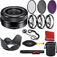 Sony SELP1650 16-50mm Power Zoom Lens with 3 Piece Filter Kit, Blower, Lens Hood, Lens Pen, Cap Keeper, Case, and Ceaning Cloth, 3 Piece Macro Closeup Kit