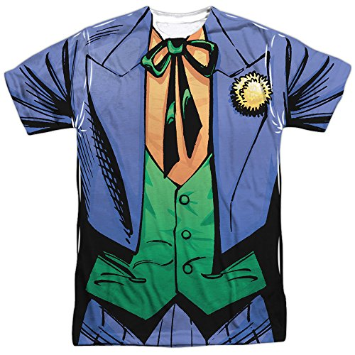 Trevco Men's Joker Double Sided Print Sublimated T-Shirt, Uniform White, XX-Large