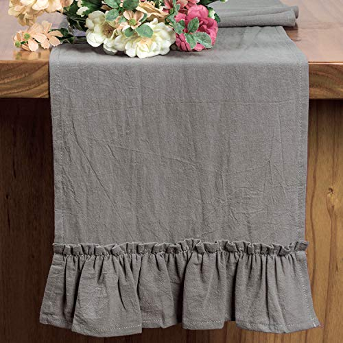 Letjolt Silver Gray Table Runner Thanksgiving Table Runner Ruffle Decorations Rustic Fabric Decor Wedding Ornaments Home Kitchen Birthday Party, Silver Gray 12x72 Inches (Table Ruffled Runner)