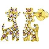 18k Gold Plated Pink Clear CZ Giraffe Screw Back Earrings for Girls