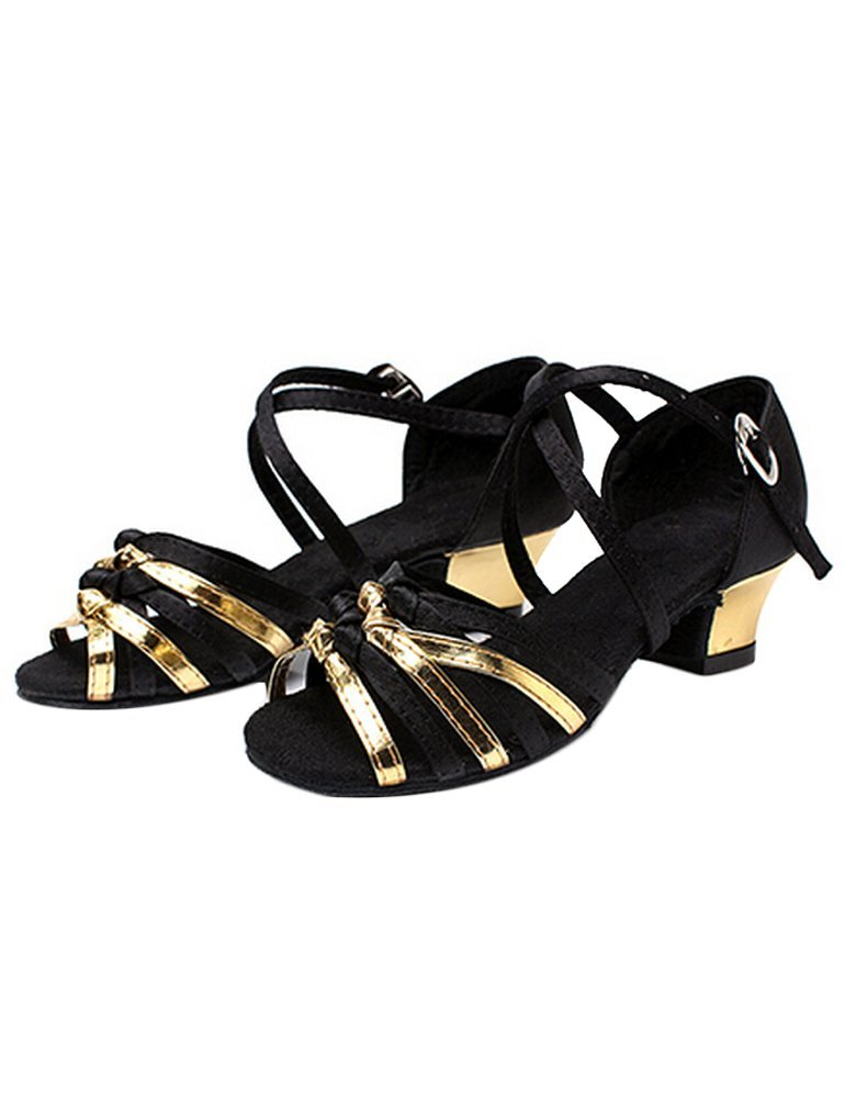 Eden Babe Girl's Strappy Tango Latin Dance Shoes(Little Kid 2.5M,Gold 34)