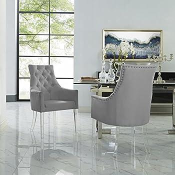 705306e2381 Amazon.com - Armen Living Gobi Dining Chair in Grey Velvet and ...