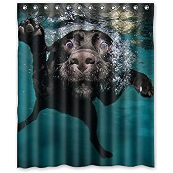 Popular Funny Lovely Labrador Dog Bathroom Shower Curtain, Shower Rings  Included 100% Polyester Waterproof
