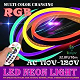 IEKOV LED NEON Light, AC 110-120V Flexible RGB LED Neon Light Strip, 60 LEDs/M, Waterproof, Multi Color Changing 5050 SMD LED Rope Light + Remote Controller for Party Decoration (32.8ft/10m)