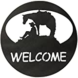 7055 Inc Southwest Horse & Cowboy Welcome Circle Metal Wall Sign, Hammered Black