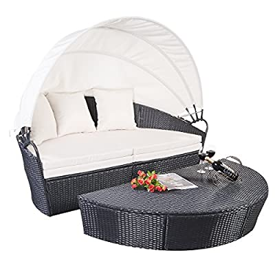 Giantex Outdoor Patio Furniture Round Retractable Canopy Daybed Black Wicker Rattan