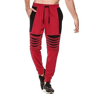 YanHoo Pantalones de chándal Sueltos sólidos Ocasionales del ...