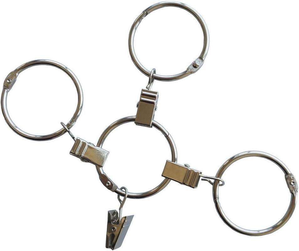 Ebeta 30 Pcs Clip Anillos de Cortina de Ventana Anillas de Metal con Pinzas para Colgar Cortinas 30mm de di/ámetro Interno Plateado