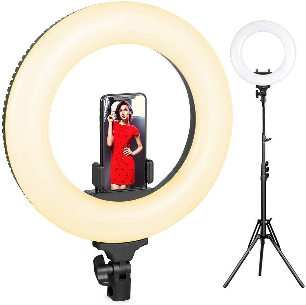 Vlog for Video Shooting YouTube Makeup Dimmable Video LED Light Kit Jumor Ring Light,Version 18Inch with Adjustable Color Temperature 3200K-5600K with Stand Portrait Selfie